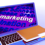 Marketing In Word Cloud Laptop Means Market Advertise Sales. Marketing In Word Cloud Laptop Meaning Market Advertise Sales Stock Image