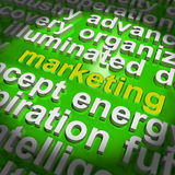 Marketing In Word Cloud Means Market Advertise Sales Royalty Free Stock Photos