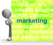 Marketing In Word Cloud Sign Means Market Advertising Sales Stock Photos