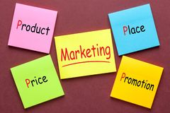 Marketing Word Concept. Marketing concept with words product, place, price and promotion written on color notes. Business Concept royalty free stock photo