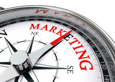 Marketing word on conceptual compass Royalty Free Stock Image