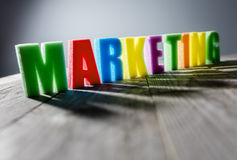 Marketing. Word headline title in colorful letters Stock Photos