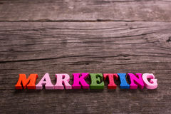 Marketing word made of wooden letters Royalty Free Stock Photos