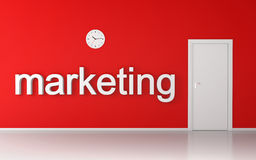 Marketing word on red wall Royalty Free Stock Photo