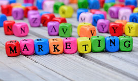 Marketing word on table royalty free stock images