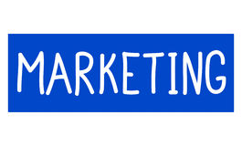 Marketing word written on a blue sign board. On white background Stock Image