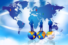 Marketing World Success. An image for the concept of Strategic Marketing Planning Success. Showing an graphic of the planet earth with pins sticking into areas Stock Images