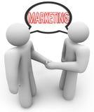 Marketing-Wort-Händedruck-Sprache-Blasen-Verkäufer stock abbildung