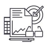 Marketingowa analityka wektoru linii ikona, znak, ilustracja na tle, editable uderzenia royalty ilustracja