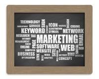 Marketingowa słowa lub etykietki chmura ilustracja wektor