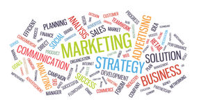 Marketingowa strategii biznesowej słowa chmura royalty ilustracja