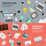 Marketingowy badanie i kreatywnie drużynowy pojęcie Obrazy Royalty Free