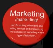 Marketingowy definicja guzik Pokazuje Promocyjne sprzedaże I Advertis ilustracja wektor