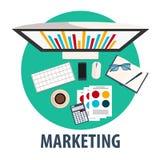 Marketingowy płaski projekt Ilustracyjny marketing Freelance zawód Fotografia Stock