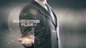 Marketingowy plan z holograma biznesmena pojęciem royalty ilustracja