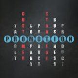Marketingowy pojęcie: słowo promocja w rozwiązywać Fotografia Stock