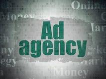 Marketingowy pojęcie: Agencja Reklamowa na Cyfrowych dane papieru tle Obraz Stock