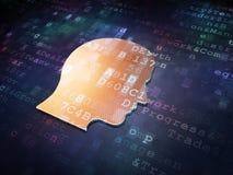 Marketingowy pojęcie: Złota głowa na cyfrowym tle Obraz Royalty Free
