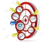 Marketingowy strzałki pojęcie Pomyślny krótkopęd z sztandarami Obraz Royalty Free