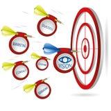 Marketingowy strzałki pojęcie Pomyślny krótkopęd z sztandarami Biznes Obraz Royalty Free