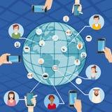 Marketingowy technologii pojęcie globalny, kreskówka styl Zdjęcie Royalty Free
