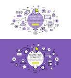 Marketingstrategie Flache Linie Farbheldbilder und Heldfahnen Stockfoto