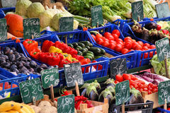Marketplace. Colorful groceries marketplace in Venice, Italy. Outdoor market stall with fruits and vegetables stock photo