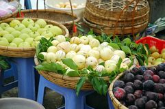 Marketplace. Fruits and vegetable for sales in a morning traditional bazaar Royalty Free Stock Photos
