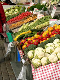 Marketplace. With garden truck, vegetables,  mushrooms etc. in Helsinki, Finland Royalty Free Stock Photo