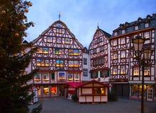 Marketplace on Christmas Eve at dusk, Bernkastel-Kues, Rhineland-Palatinate, Germany Stock Photos