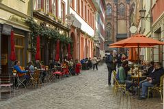 Street cafe in Heidelberg old city, Germany Royalty Free Stock Photos