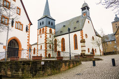 Marketplace in the fairy tale town Steinau an der Straße, Germany Royalty Free Stock Images