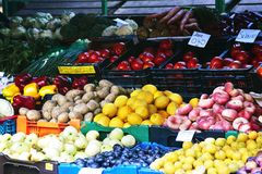 Marketplace with fruits and vegetables. Latvia. Summer day royalty free stock photos