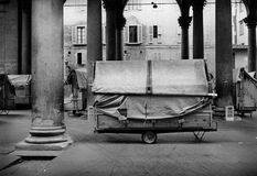 Marketplace Il Porcellino,Florence, taly. Solitary view of an ancient marketplace in Florence represented in black and white Royalty Free Stock Images