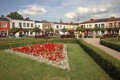 Marketplace in Janow Lubelski. Poland. Flowerbad in Janow Lubelski. Poland Stock Photo
