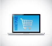 Marketplace laptop sign illustration design Royalty Free Stock Photos