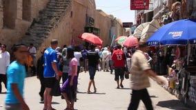 Marketplace in medina Tunisia, Sousse stock footage