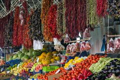 Marketplace in Mugla Turkey. Stands with fresh fruits and vegetables at a marketplace in Mugla, Turkey Stock Photos