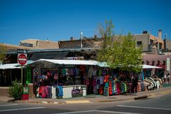 The Marketplace in Santa Fe, New Mexico. The Creative City of Santa Fe In New Mexico with its multitude of Galleries and Sculpture stock photo
