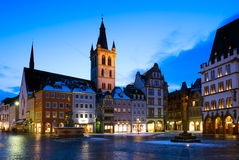 Marketplace and St. Gangolf Church in Trier, Germany. The construction of St. Gangolf Church begun at the turn of the 15th century although a four-storey tower Royalty Free Stock Photo