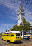 Yellow Retro Trolley Overhead Cable Car Downtown Stock Image