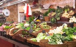 Market stand with green vegetables Stock Photos