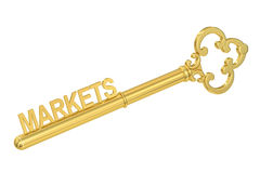 Markets concept with golden key, 3D. Rendering Stock Images