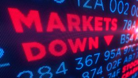 Markets down concept. Markets down and stock crisis concept. Economy crash and recession 3D illustration. Screen pixel style stock image