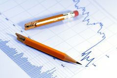 Markets Go Down. Financial chart, market's falling, broken pencil suggests fallen spirits Stock Photos