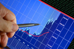 Markets Go Up. Financial chart on computer monitor, market's climbing, hand and pen pointer Stock Photos