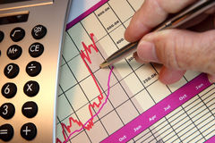 Markets Go Up, Financial Chart. Financial chart, market's rising, calculator, pen, human hand Stock Images