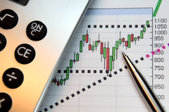 Markets Go Up, Financial Chart. Financial chart, market's rising, calculator, pen, focus on chart at pen tip Royalty Free Stock Photo