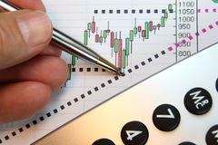 Markets Go Up, Financial Chart. Financial chart, market's rising, calculator, pen, human hand, focus on chart at pen tip Royalty Free Stock Photos