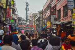 Indian market. In the markets of India you can find a huge assortment of different goods, bright souvenirs and gifts royalty free stock image